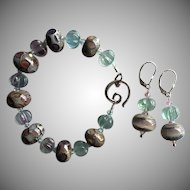 Italian Moretti Glass - Artisan Lampwork Bracelet and Earrings - Wearable Art !