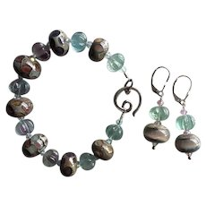 Italian Moretti Glass - Artisan Lampwork Bracelet and Earrings - Wearable Art !