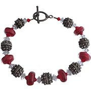 Red Boro Blush Lampwork Beaded, Bali Sterling Silver, Swarovski Crystal Bracelet