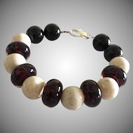 Deep Red Boro Glass Lampwork Beaded, Creamy River Stone, Black Onyx Bracelet
