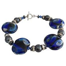 Tidal Pools - Italian Moretti Glass, Hematite, Swarovski Crystal Bracelet