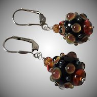 Black Amber - Artisan Italian Moretti and Double Helix Lampwork Glass, Baltic Amber, Sterling Silver Dangle Earrings