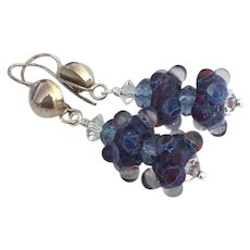 Blue and Red - Artisan Lampwork Beaded, Color Shifting Boro Glass, Swarovski Crystal, Sterling Silver Dangle Earrings