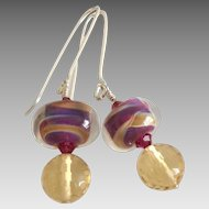 Color Shifting Boro - Artisan Lampwork Glass, Citrine, Swarovski Crystal, Sterling Silver Dangle Earrings