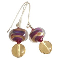 Color Shifting Boro - Artisan Lampwork Glass, Citrine, Swarovski Crystal, Sterling Silver Dangle Earrings
