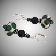 Emerald Pools, Italian Moretti Glass, Lampwork Beaded, Onyx, Malachite, Sterling Silver Dangle Earrings