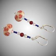 Etched Italian Moretti Glass - Artisan Lampwork Beaded Dangle Earrings