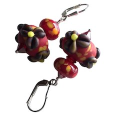 Forever Blooming Florals - Etched Italian Moretti Glass - Artisan Lampwork Beaded, Swarovski Crystal, Sterling Silver Dangle Earring