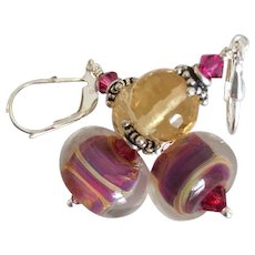 Color Shifting Boro - Artisan Lampwork Glass, Citrine, Swarovski Crystal, Sterling Silver Dangle Earrings - Red Tag Sale Item