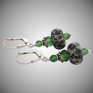 Green Mossy - Color Shifting Boro - Artisan Glass Lampwork Beaded, Swarovski Crystal, Sterling Silver Dangle Earrings