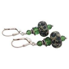 Green Mossy - Color Shifting Boro - Artisan Glass Lampwork Beaded, Swarovski Crystal, Sterling Silver Dangle Earrings