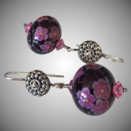 Hollow Florals - Italian Moretti Glass, Artisan Lampwork Beaded, Sterling Silver Dangle Earrings - Wearable Art !