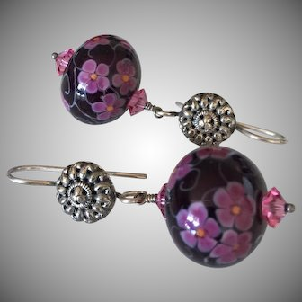 Hollow Florals - Italian Moretti Glass, Artisan Lampwork Beaded, Sterling Silver Dangle Earrings - Wearable Art !