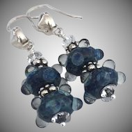 Ocean Blue - Artisan Lampwork Beaded, Color Shifting Boro Glass, Swarovski Crystal, Bali Sterling Silver Dangle Earrings