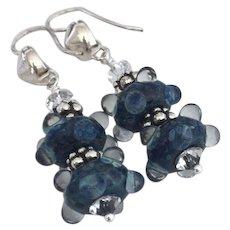 Ocean Blue - Artisan Lampwork Beaded, Color Shifting Boro Glass, Swarovski Crystal, Bali Sterling Silver Dangle Earrings