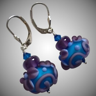 Forever Blooming - Italian Moretti Glass - Artisan Lampwork Dangle Earrings
