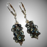 Mesmerizing Raku - Artisan Italian Moretti Lampwork Glass - Sterling Silver Dangle Earrings