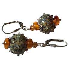 Raku Jewels - Artisan Italian Moretti Lampwork Glass, Baltic Amber, Sterling Silver Dangle Earrings