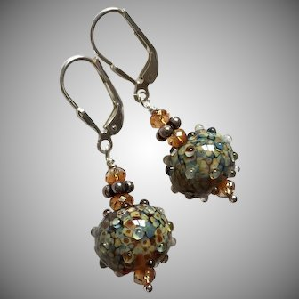 Raku Jewels - Artisan Italian Moretti Lampwork Glass, Sterling Silver Dangle Earrings