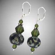 Raku Pinwheel Swirls - Artisan Italian Moretti Glass Lampwork, Swarovski Crystal, Sterling Silver Dangle Earrings