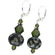 Raku Pinwheel Swirls - Artisan Italian Moretti Glass Lampwork, Swarovski Crystal, Sterling Silver Dangle Earrings