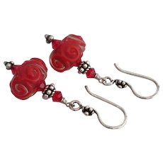 Vivid Red Swirls - Italian Moretti Glass Artisan Lampwork, Swarovski Crystal, Sterling Silver Dangle Earrings