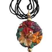 One-Of-A-Kind, Italian Moretti Glass, Forever Blooming Florals, Artisan Lampwork Focal Pendant Necklace - Wearable Art !