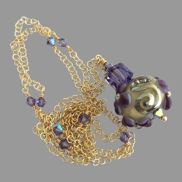 One-Of-A-Kind - Forever Blooming, Boutique Double Helix Glass, Lampwork Artisan Floral Focal, Swarovski Crystal, Vermeil - Wearable Art Necklace
