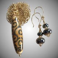 Boutique Double Helix - Artisan Lampwork Focal Pendant Necklace and Earrings - Wearable Art !