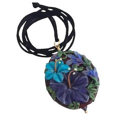 Italian Moretti Glass, Artisan Lampwork, Forever Blooming Florals - Focal Pendant Necklace and Earrings - Wearable Art !