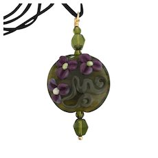 Olive - One-Of-A-Kind, Italian Moretti Glass, Artisan Lampwork Focal Pendant Necklace - Wearable Art !