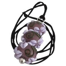 One-Of-A-Kind, Italian Moretti Glass, Forever Blooming Dimensional Florals and Scrolling, Artisan Lampwork Focal Pendant Necklace