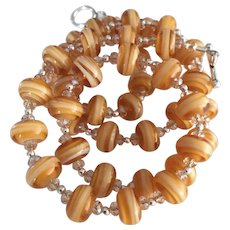 Caramel and Honey - Italian Moretti Glass - Artisan Lampwork Necklace - Wearable Art !