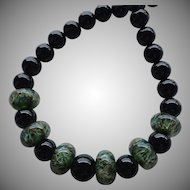 Bold ! Color Shifting - Green Boro Lampwork Beaded, Black Onyx - Artisan Wearable Art Necklace