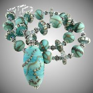 Patina Green Blue, Italian Moretti Glass Lampwork, Bali Sterling Silver, Swarovski Crystal - Artisan Wearable Art Necklace !