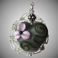 Mesmerizing, One-Of-A-Kind, Etched Italian Moretti Glass, Forever Blooming Dimensional Florals and Scrolling, Artisan Lampwork Heart Focal Necklace