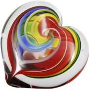 GES Rainbow Heart Paperweight Art Glass Eye Studio Seattle Studio