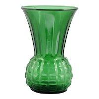 Forest Green Vintage Glass Vase Anchor Hocking 1960s Mid Century Modern Festive