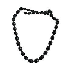 Black Trifari Graduated Bead Necklace Vintage