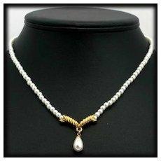 Elegant Napier Faux Pearl Drop Necklace with Gold Tone Accents