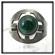 Vintage Ring Sterling Silver Green Eilat Chrysocolla Israel