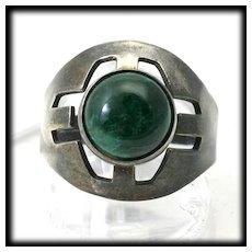 Vintage Ring Sterling Silver Green Eilat Chrysocolla Israel