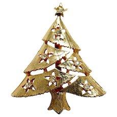 Vintage Goltone Christmas Tree Pin with Rhinestone Star Ornaments