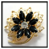 Vintage Flower Brooch Black Cabochons and Goldtone