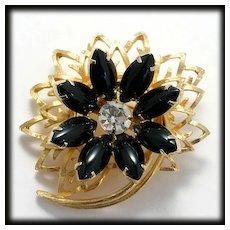Vintage Flower Brooch Black Cabochons and Goldtone