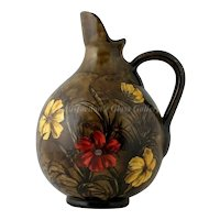 Antique Art Pottery Pitcher Hand Painted Red Yellow Flowers