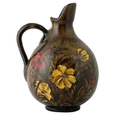 Antique Art Pottery Pitcher Hand Painted Red Yellow Flowers Dark background Signed N1494