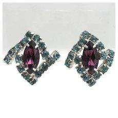 Stylish Amethyst and Baby Blue Rhinestone Earrings