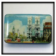 Vintage British Blue Bird Toffee Tin Westminster Abbey