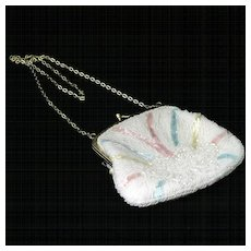 Vintage White Beaded Purse Pastel Rainbow and Clouds Hong Kong